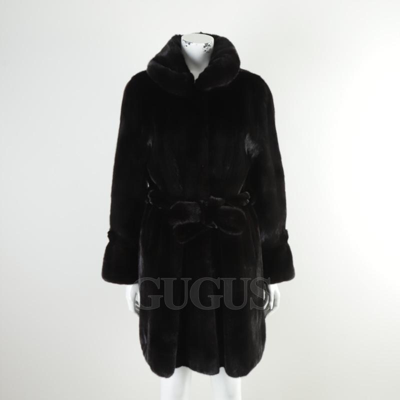 국제 모피 블랙 그라마 밍크 코트